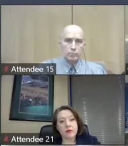 Dr. Bob Lutz (top), the former Spokane Regional Health District health officer, and Amelia Clark, the district's administrator, are shown during the Nov. 5 meeting at which Lutz was fired by the health board. - SCREENSHOT NOV. 5, 2020