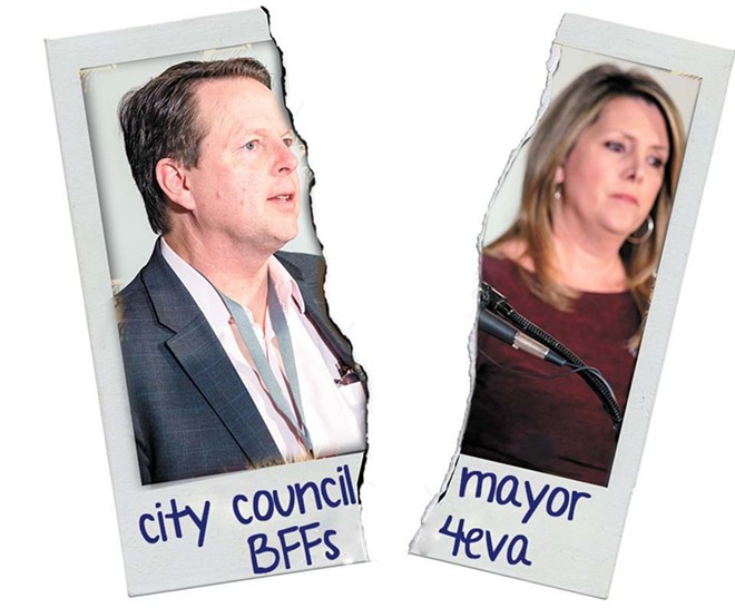 The honeymoon between the Woodward administration and the City Council appears to be over. - DANIEL WALTERS PHOTO ILLUSTRATION
