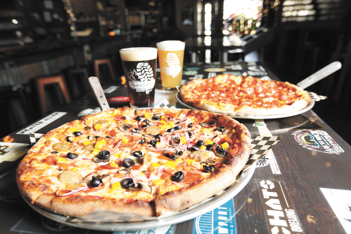 Grab a pizza and a pint at Trails End Brewery. - YOUNG KWAK PHOTO
