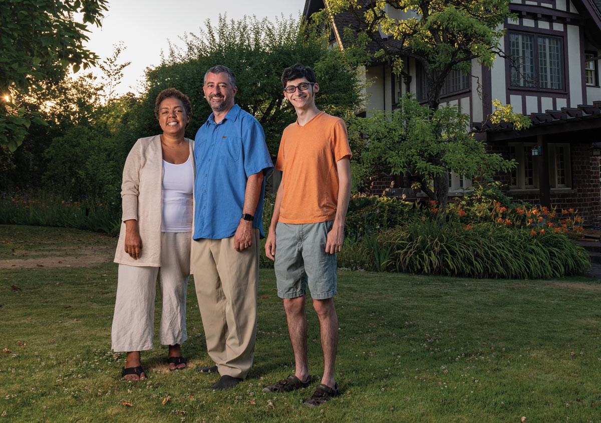 Monica Flaherty, Erik and Jacob Contzius are the Nuzum House's newest residents. - ERICK DOXEY PHOTO