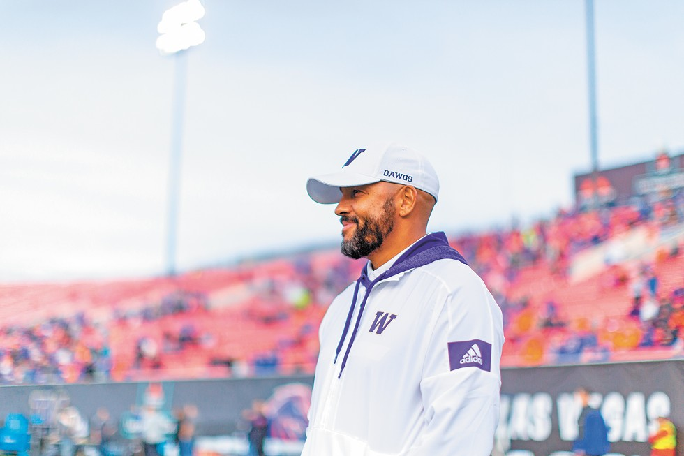 Jimmy Lake at the Las Vegas Bowl on Dec. 21, 2019. He had been named UW head coach two weeks earlier, making it the final game for his mentor Chris Petersen, who chose to step away from coaching. - SCOTT EKLUND PHOTO/RED BOX PICTURES