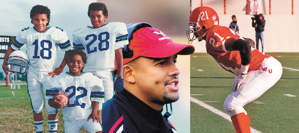 Jimmy Lake (28) and his brothers Jayson (18) and Justin (22). The boys took up football while living on the Clark Air Base in the Philippines (left). After a last-possible-minute scholarship offer, Jimmy Lake became an Eag (right) — starting at strong safety and serving as co-captain. Right after graduating, he started his coaching in Cheney, staying for five more years (center). - COURTESY OF JULIE CLARK AND EWU ATHLETICS PHOTOS