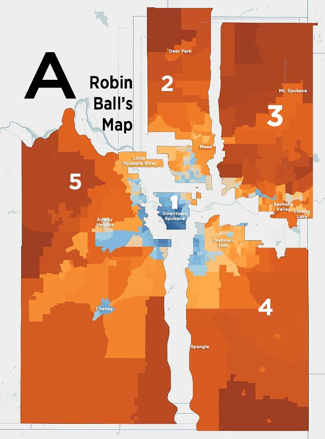 Map A does well at keeping most similar smaller cities in the same district, though it strips out the outer edges of the city of Spokane. - DANIEL WALTERS DATA VISUALIZATION