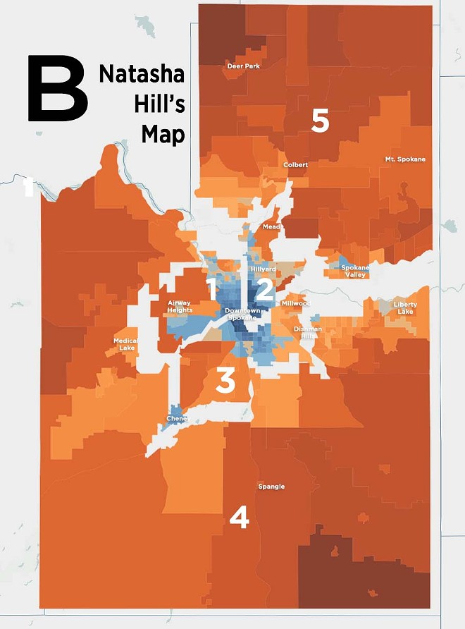 By dividing Spokane three ways, Hill's map gives Democrats the best chance of taking three districts. - DANIEL WALTERS DATA VISUALIZATION