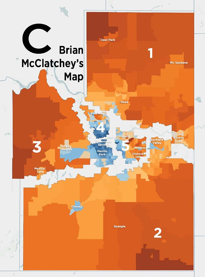 McClatchey's map puts Spokane Valley in the same district as Cheney — but not Liberty Lake. - DANIEL WALTERS DATA VISUALIZATION