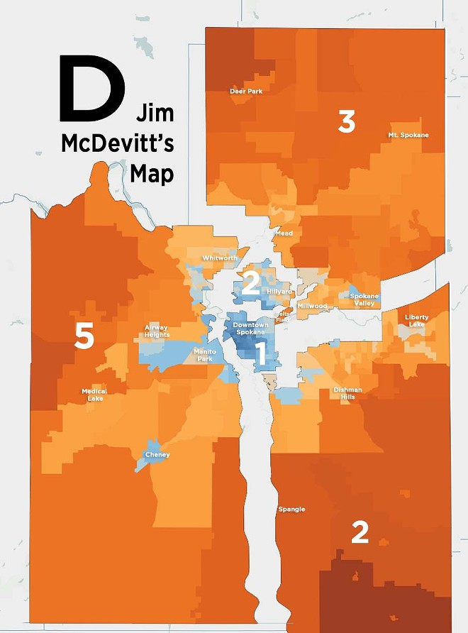 """Don't get too weirded out about the """"tail"""" sticking out from District 1 — it's nothing suspicious. It's the location of Felt's Field, and the district simply follows the boundaries of the Spokane River and the borders of the city of Spokane. The old Lewis and Clark school district boundaries looked similar. - DANIEL WALTERS DATA VISUALIZATION"""