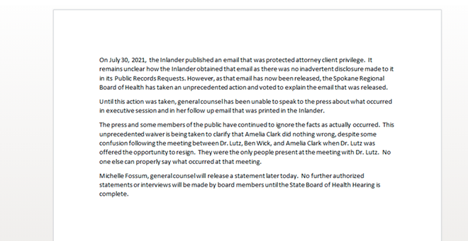 SCREENSHOT OF SPOKANE REGIONAL HEALTH DISTRICT DRAFT STATEMENT IN RESPONSE TO THE THE INLANDER