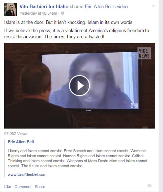 June 4th Facebook post on Vito Barbieri for Idaho.