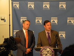 Mayor David Condon (left) and Council President Ben Stuckart (right) respond to the report. - JAKE THOMAS