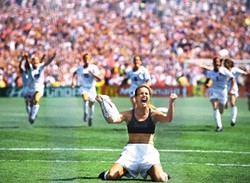 The iconic photo of Brandi Chastain after the U.S. women's team last won the World Cup back in 1999. - ROBERT BECK/SI