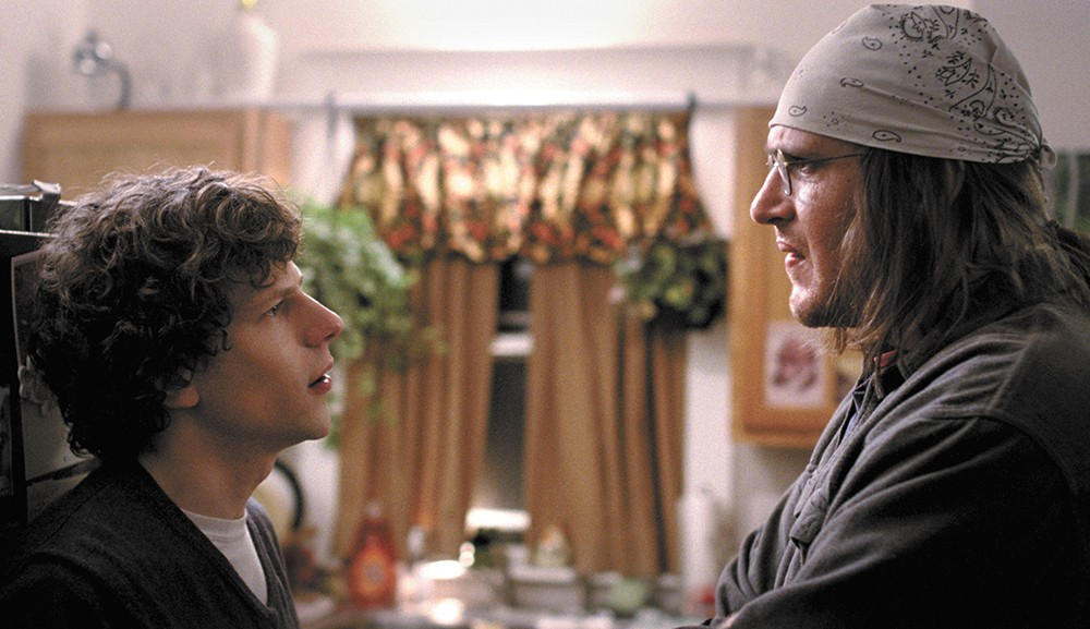 Jesse Eisenberg (left) and Jason Segel in The End of the Tour.