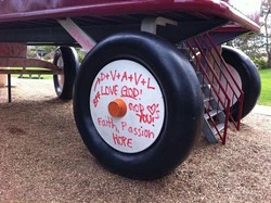 "Religious graffiti was found on a wheel of ""The Childhood Express"" in 2011. - MIKE ELLIS / KXLY"