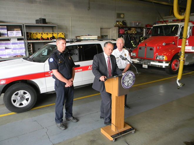 Firefighters union president Don Waller (left), Mayor David Condon (center), Fire Chief Bobby Williams (right) - JAKE THOMAS