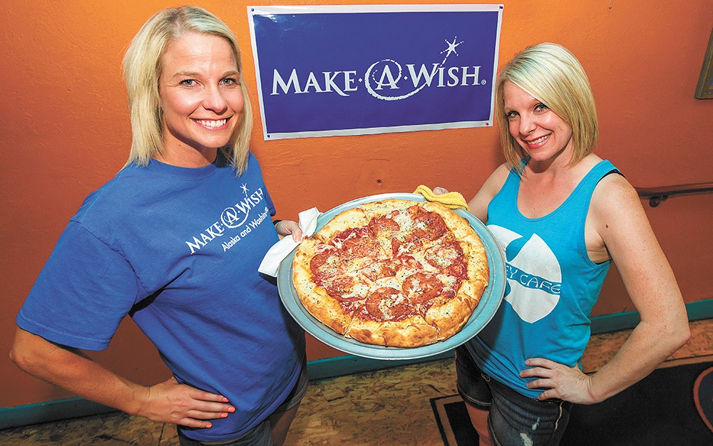 Natalie Wright of Make A Wish Foundation and Jenn Mitchell of Monterey at Monterey Cafe. - JEFF FERGUSON