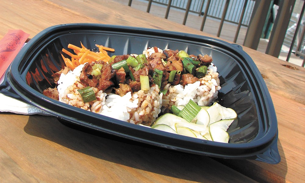 A rice bowl from Kiko's with a view on the side. - CARRIE SCOZZARO