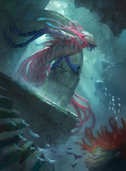"""Magic cards also have awesome art, like this artist's rendition of the creepy Eldrazi card """"Fathom Feeder,"""" which are the alien creatures attacking the plane called Zendikar. - CLINT CEARLEY"""