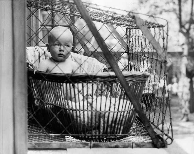 When your baby gets fussy, just set up the ol' baby cage...