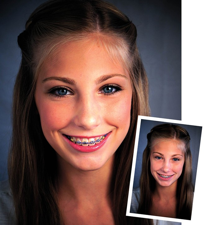 13-year-old Sammy before (inset) and after her teen makeup class