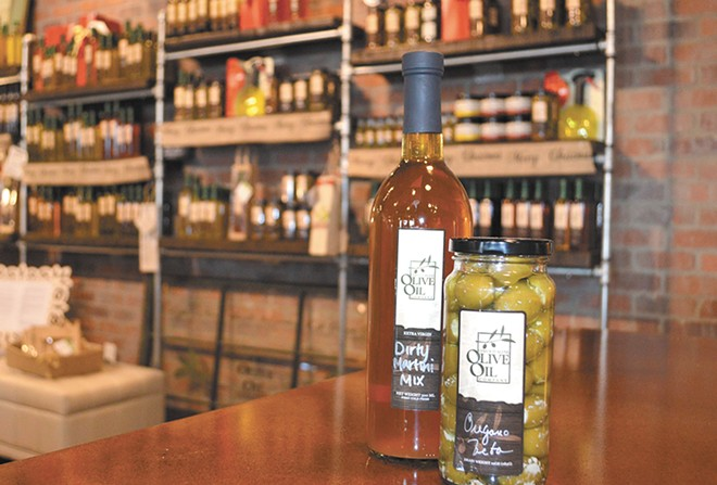 A sample bar of Coeur d'Alene Olive Oil is tucked inside the Culinary Stone.
