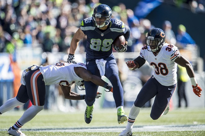 Jimmy Graham got his first TD for the Seahawks in Sunday's romp. - SEAHAWKS.COM