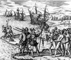 An artist's early rendition of Columbus' first encounter with the native populations of North America. - WIKIMEDIA COMMONS