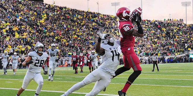 A TD pass to Dom Williams on the final play of regulation propelled WSU to overtime and a victory against Oregon Saturday. - WASHINGTON STATE ATHLETICS