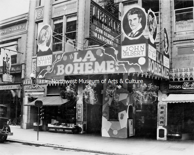 The busy marquee of Spokane's Liberty Theater (it no longer stands at 718 W. Riverside), in a uncredited photo dated from 1925. - MAC