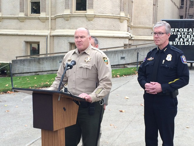Sheriff Ozzie Knezovich addresses a sexual assault investigation involving a Spokane police sergeant during a press conference on Thursday. - MITCH RYALS