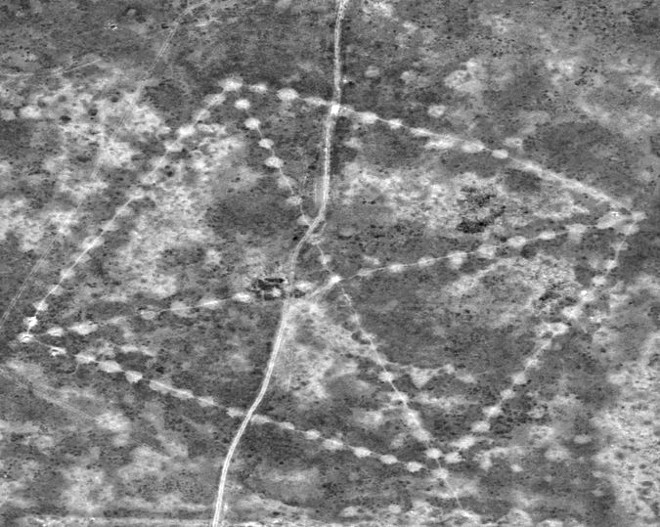 A satellite image of one of the geoglyphs recently captured by NASA. - NASA