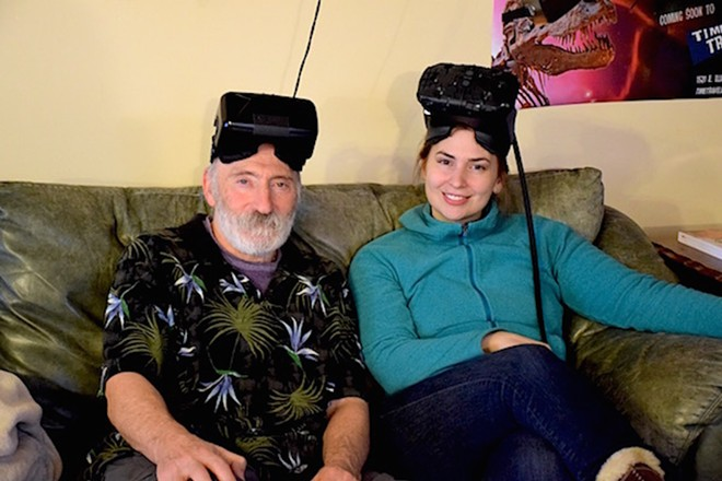 NovaWake founders Lew Strachman and Anna Czoski in the Time Traveler Lounge - MAKAYLA WAMBOLDT