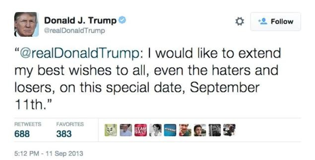 In 2013, Donald Trump shows magnanimity toward even haters and losers on 9/11