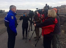 Interim Chief Rick Dobrow answers questions after a water recovery near the Monroe Street Bridge - SPOKANE POLICE DEPARTMENT
