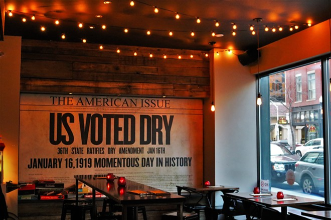 The historic front page of the American Issue can be seen on a far wall in the Volstead. - MEG MACLEAN