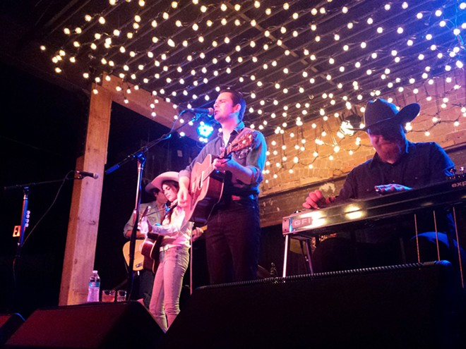Sam Outlaw, center, headlining at The Bartlett Wednesday night. - DAN NAILEN