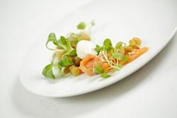 Luna's salmon lox with Bavarois cream, golden raisins and watercress - YOUNG KWAK