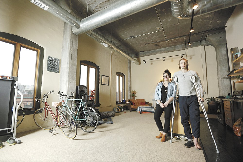 Alex Howard (right) and Syd Silva found a loft on the east side of downtown after college. - YOUNG KWAK
