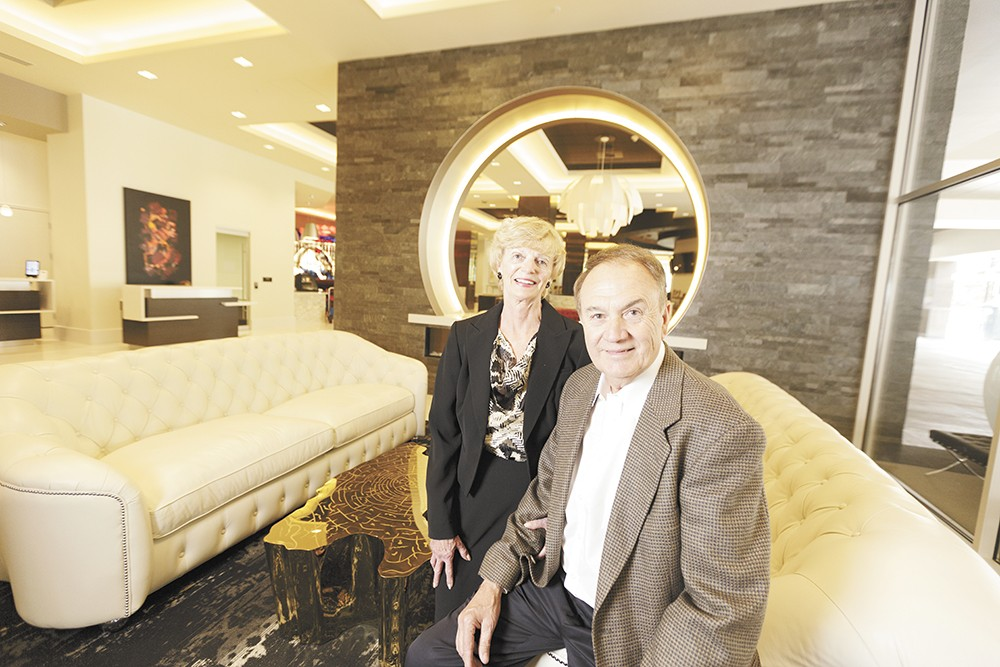Karen and Walt Worthy inside their new Davenport Grand Hotel. - YOUNG KWAK