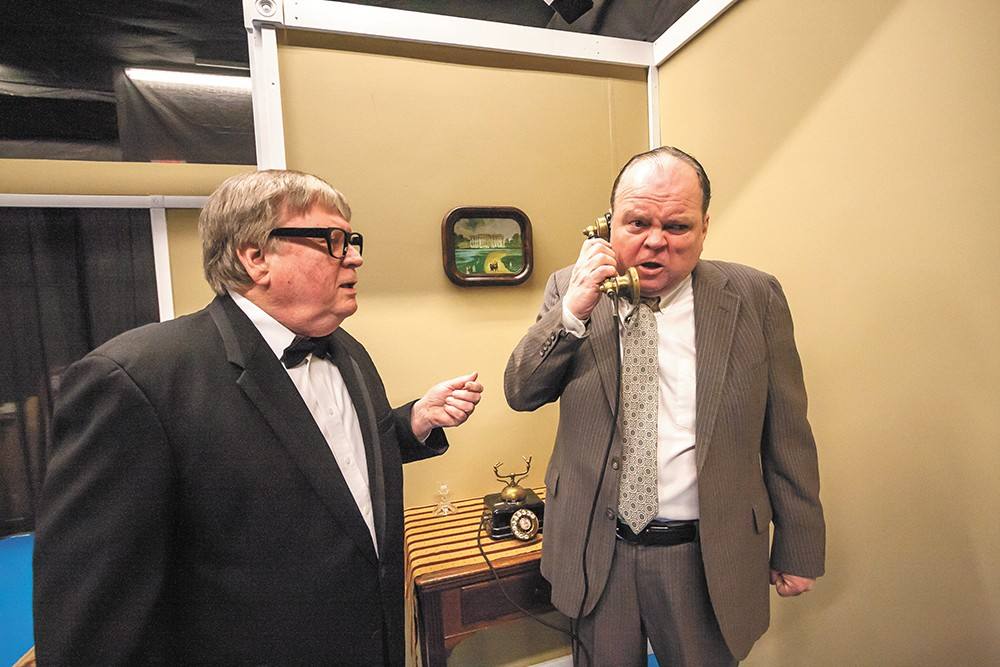 Bob Nelson (left) and Ron Ford (as Richard Nixon) in Nixon's Nixon. - JEFF FERGUSON