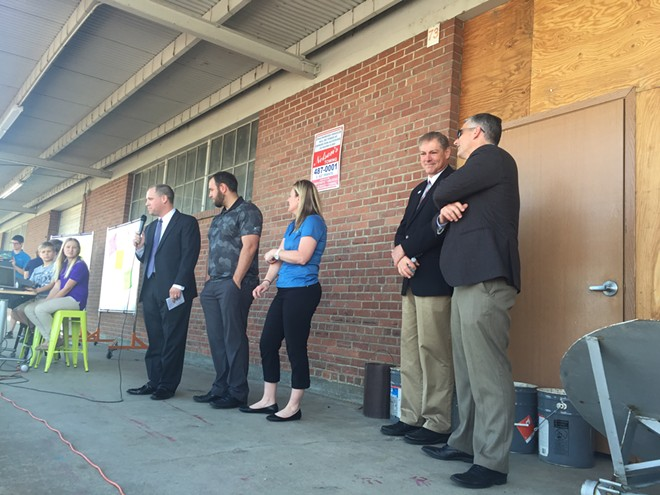 Left to right: Chris Cargill of Washington Policy Center, Travis Franklin of Spokane International Academy, Brenda McDonald of PRIDE Prep, Rep. Bob McCaslin and Sen. Michael Baumgartner - WILSON CRISCIONE