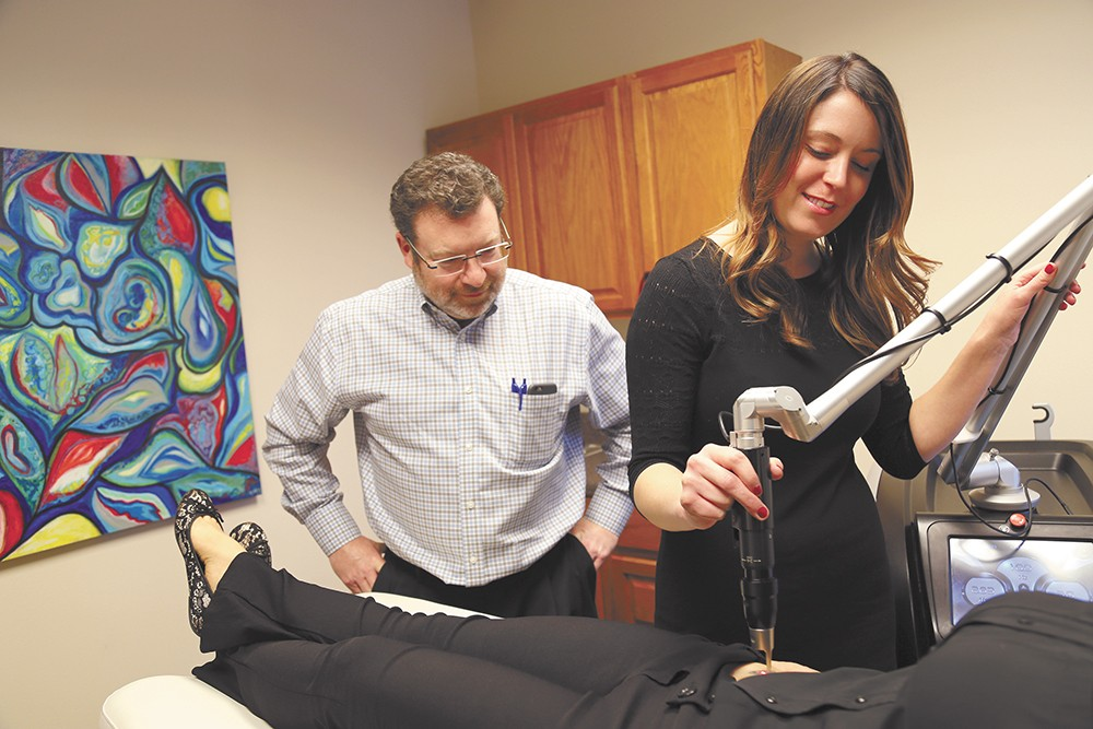 Advanced Aesthetics, a Spokane-based cosmetic surgery clinic, uses lasers to remover unwanted tattoos. Unlike at other establishments, the procedure is overseen by Kevin Johnson, a medical doctor. - SARAH PHILP