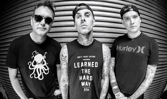 (left to right) Mark Hoppus, Travis Barker and Matt Skiba of Blink-182