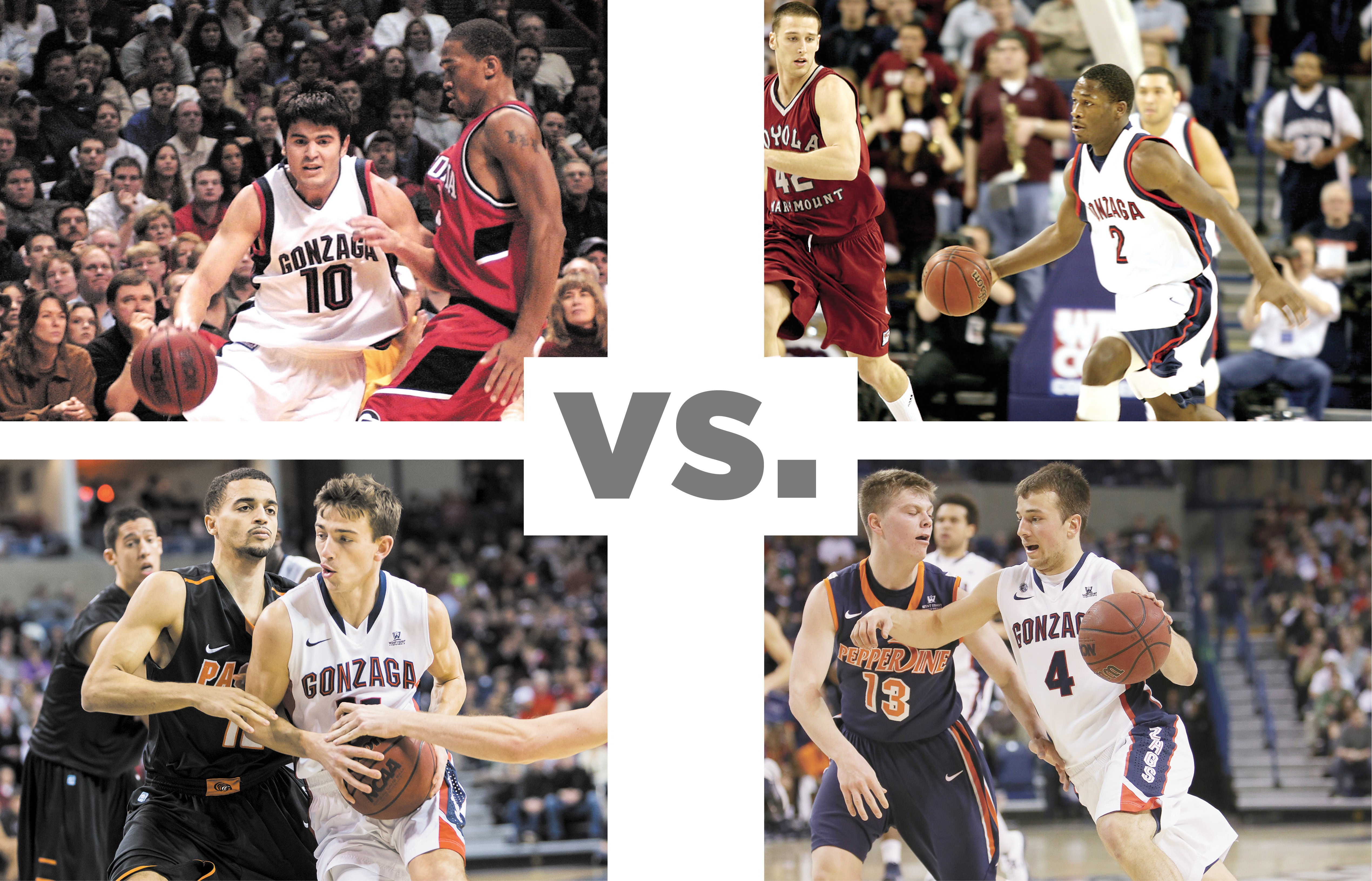 CLOCKWISE FROM TOP LEFT: Blake Stepp, Jeremy Pargo, Kevin Pangos and David Stockton will all be on hand for Friday's Gonzaga alumni game.