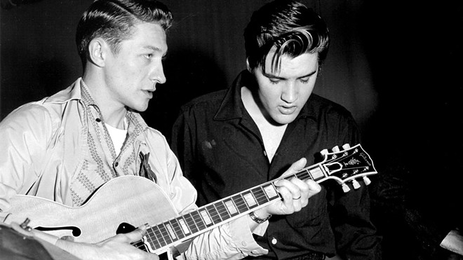 Scotty Moore, left, was the man on guitar for Elvis Presley's earliest recordings.