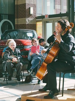 Zuill Bailey performs at a Flash-Bach concert at River Front Square last year.