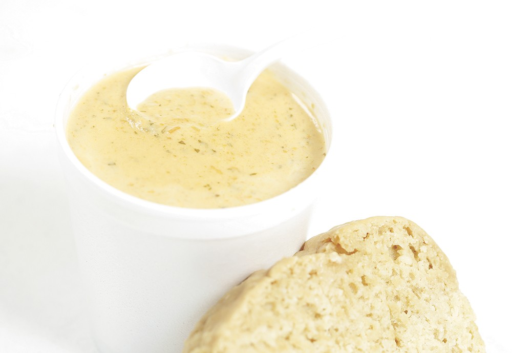 Beer cheese soup from Soulful Soups & Spirits. - YOUNG KWAK