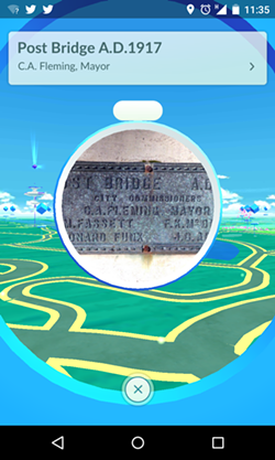 A PokeStop near the Post Street Bridge in downtown Spokane provides free, in-game resources like Poke Balls (needed to catch Pokemon) and Poke Eggs.