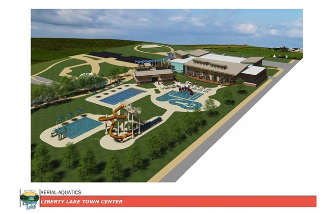 Rendering of aquatic and community center proposed as part of Liberty Lake's Town Square project - CITY OF LIBERTY LAKE