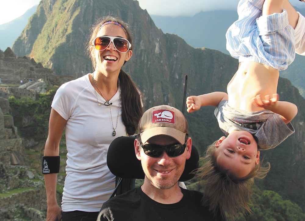 Gleason climbed Machu Picchu with his wife, Michel, and son, Rivers, and other friends.
