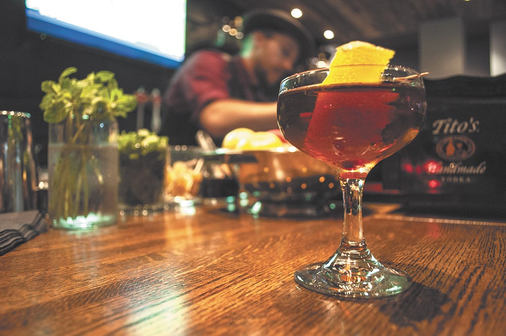 """A delicious """"Ambidextrious Cocktail"""" at Volstead Act."""