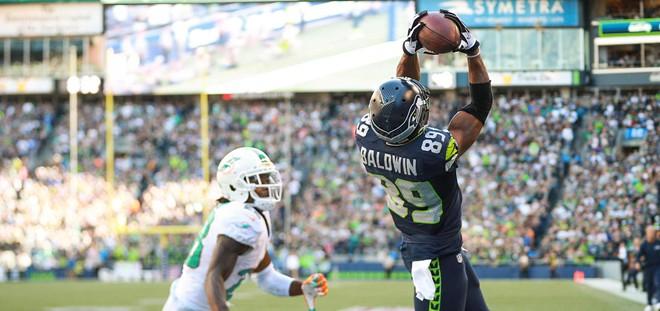 Doug Baldwin makes the winning catch for the Seahawks on Sunday. - SEAHAWKS.COMM